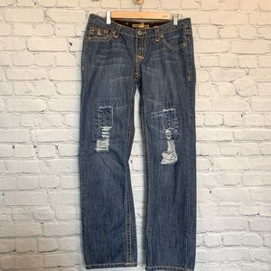 Iron Horse low rise distressed straight leg jeans